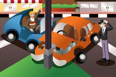 Car accident in the city - stock illustration