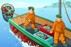 Commercial fisherman fishing Stock Illustration