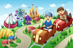 Stock Illustration of Kids having fun in an amusement park