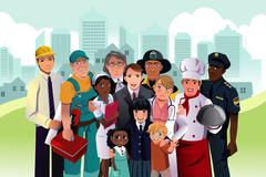 People with different occupation - stock illustration