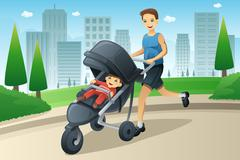 Father jogging while pushing a stroller Stock Illustration