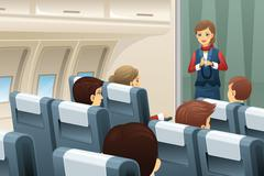 Flight attendant demonstrate how to fasten the seat belt - stock illustration