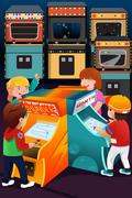 Kids playing arcade games - stock illustration