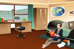 College student studying in dorm - stock illustration