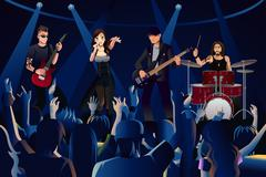 People in a concert - stock illustration