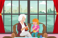 Grandma teaching her granddaughter knitting - stock illustration
