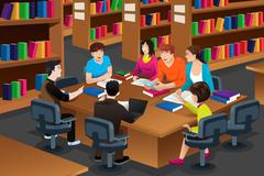 College students studying in the library Stock Illustration