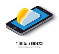 Online daily forecast concept isometric icon Stock Illustration