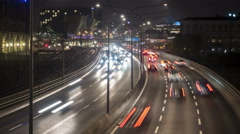 Traffic time-lapse in front of Stockholm Central Station Stock Footage