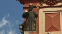 Statue with crown on a building in Prague Stock Footage