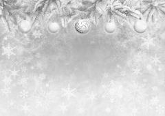 Gray color background with Christmas tree branches decorated balls Stock Illustration