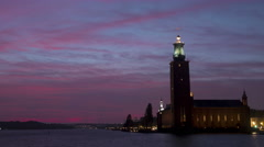 Stockholm city hall time-lapse magic hour Stock Footage