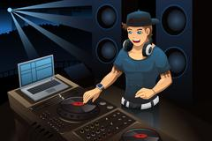 DJ performing in a night club Stock Illustration