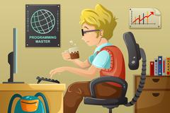 Computer programmer working on his computer - stock illustration