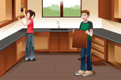 Young couple installing kitchen cabinets - stock illustration