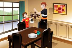Stock Illustration of Young couple changing lighting fixture