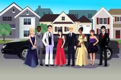 Teen in prom dress standing in front of a long limo Piirros