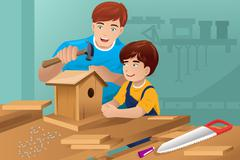 Father son making a birdhouse - stock illustration