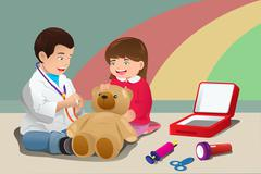 Kids playing doctor Stock Illustration