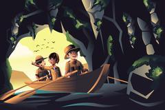 Kids on an adventure trip Stock Illustration