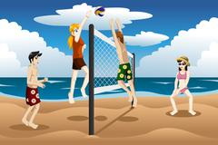 People playing beach volleyball - stock illustration