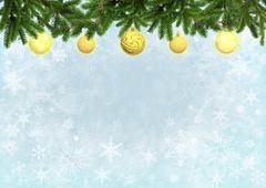 Light blue color background with Christmas tree decorated yellow balls Stock Illustration