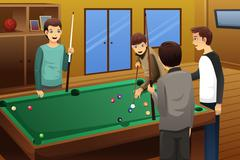 Young people playing billiard - stock illustration
