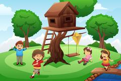 Stock Illustration of Kids playing around tree house