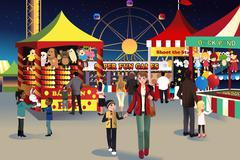Summer night outdoor fair Stock Illustration