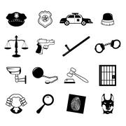 Law enforcement icons Stock Illustration