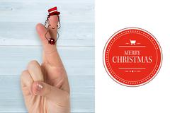 Composite image of christmas fingers - stock illustration