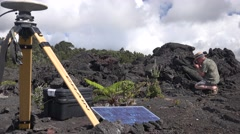 Volcanologist at work, researching prior event Hawaii Stock Footage