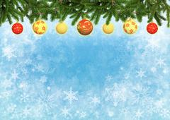 Blue color background with Christmas tree branches decorated balls Stock Illustration