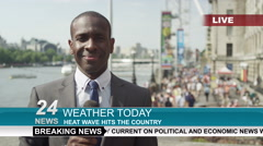 Stock Video Footage of 4K TV weather reporter doing live piece to camera outdoors in the city of London