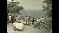 Vintage 16mm film, 1979, point park lookout tourists Stock Footage