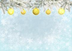 Light blue color background with Christmas tree branches decorated balls - stock illustration