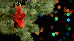 Decorated christmas tree branch Stock Footage