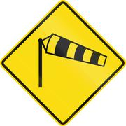 New Zealand road sign - Danger of powerful wind gusts - stock illustration