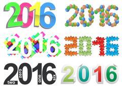 illustration set of colorful 2016 year text - stock illustration