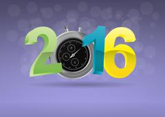 illustration of colorful 2016 text with chronometer - stock illustration