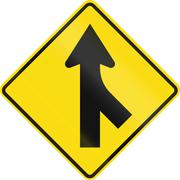 New Zealand road sign PW-4 - Merging traffic from right - stock illustration