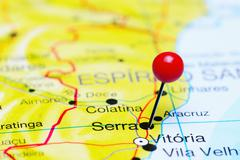Serra pinned on a map of Brazil - stock photo