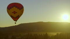 Beautiful sunrise shot with hot air balloon Stock Footage