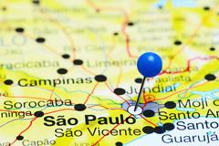 Sao Paulo pinned on a map of Brazil - stock photo