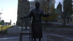 One of The Valiant Five or Famous Five statues, Ottawa, Canada - stock footage