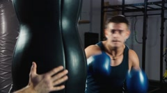 Boxing training. Close up of a boxer: who trains Stock Footage