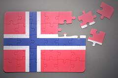 puzzle with the national flag of norway - stock photo