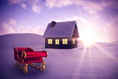 Stock Illustration of Composite image of red and gold santa sleigh