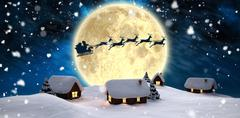 Stock Illustration of Santa delivery presents to village