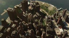 Aerial view of New York Manhattan water front - 4K Stock Footage